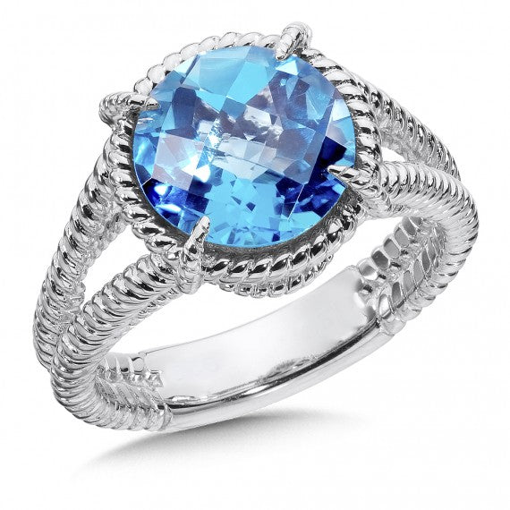 Colore SG Sterling Silver Blue Topaz Split Shank Ring