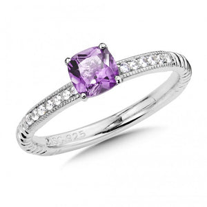 Colore SG Sterling Silver Amethyst and White Sapphire Stacking Ring