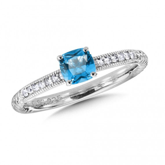 Colore SG Sterling Silver Blue Topaz and White Sapphire Stacking Ring