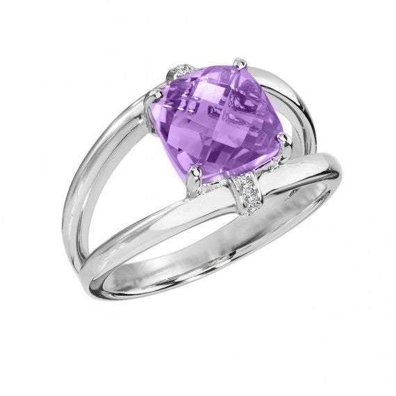 Colore SG Amethyst & Diamond Ring in Sterling Silver