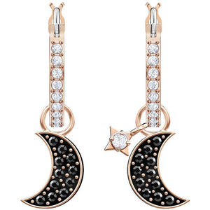 Duo Moon Hoop Pierced Earrings, Black, Rose gold plating