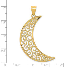 Load image into Gallery viewer, 14k Filigree Moon Pendant