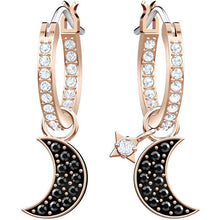 Load image into Gallery viewer, Duo Moon Hoop Pierced Earrings, Black, Rose gold plating