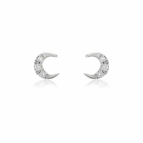 Petite Crescent Moon Pave Post Earrings