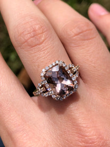 14K Rose Gold Cushion Cut Morganite and Diamond Ring