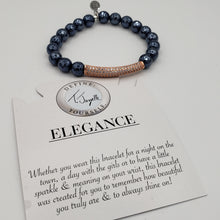 Load image into Gallery viewer, Elegance Collection - Navy Hematite Bracelet with Rose Gold Crystal Bar