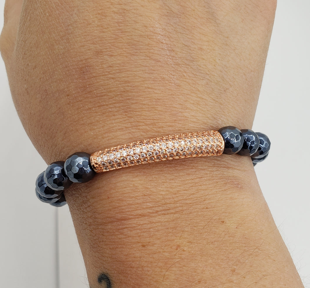 Elegance Collection - Navy Hematite Bracelet with Rose Gold Crystal Bar