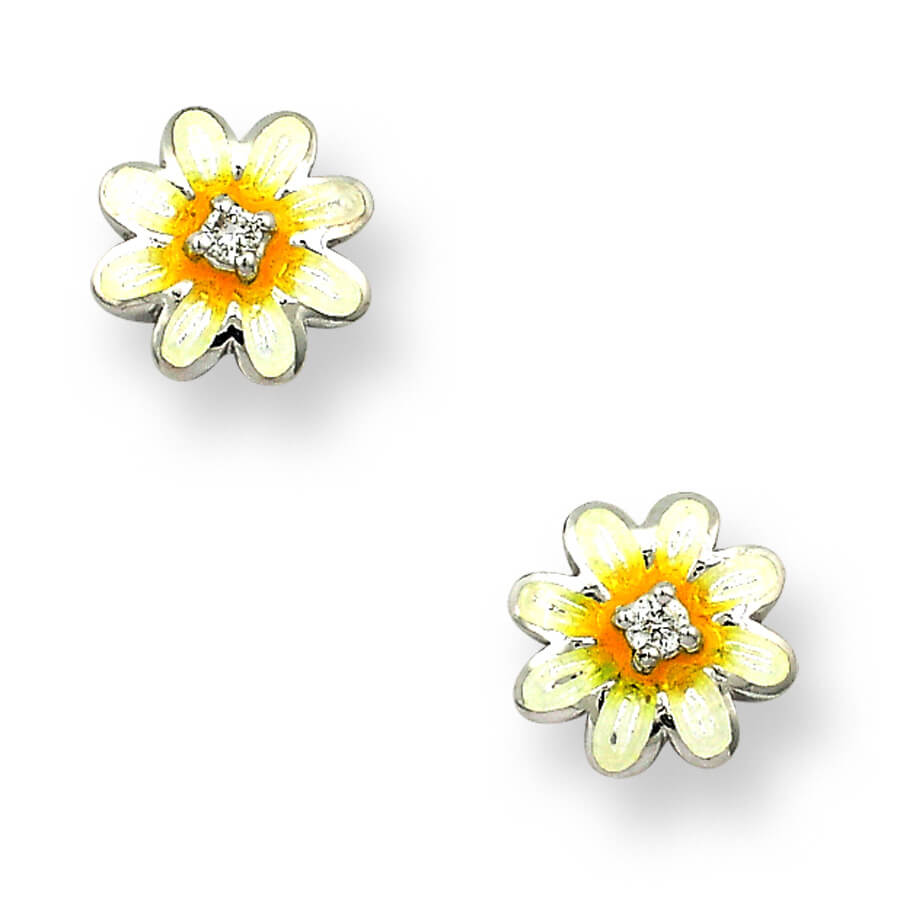 Sterling Silver White Daisy Stud Earrings