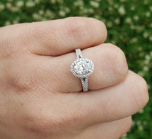 Load image into Gallery viewer, 14K White Gold Oval Engagement Ring with Diamond Halo and Diamond Split Shank GIA Certified