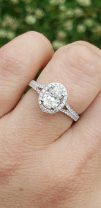 14K White Gold Oval Engagement Ring with Diamond Halo and Diamond Split Shank GIA Certified