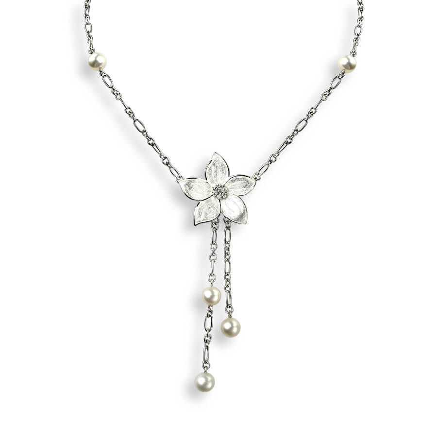 Sterling Silver White Stephanotis Necklace