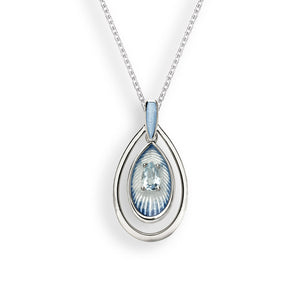 Sterling Silver Light Blue Wire Necklace - Blue Topaz