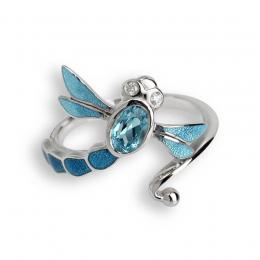 Sterling Silver Blue Dragonfly Ring