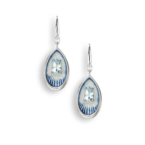 Sterling Silver Light Blue Wire Earrings - Blue Topaz.