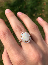 Load image into Gallery viewer, 14K Rose Gold Oval Opal and Diamond Ring