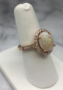 14K Rose Gold Oval Opal and Diamond Ring