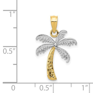 14k and Rhodium Palm Tree Pendant