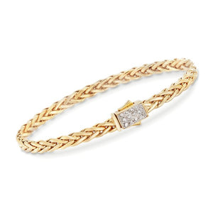 Phillip Gavriel 14K Yellow Gold Woven Bracelet with Diamonds