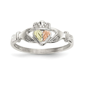 Sterling Silver and 12k Accents Claddagh Ring