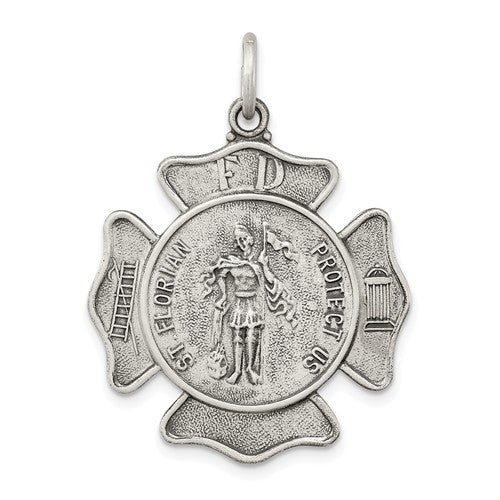 Sterling Silver Saint Florian Badge Medal