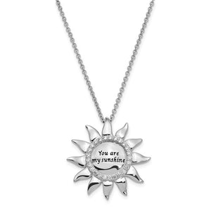 Sterling Silver CZ Antiqued You Are My Sunshine 18in. Necklace