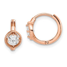 Load image into Gallery viewer, 14k Madi K Rose Gold Round CZ Hoop Earrings