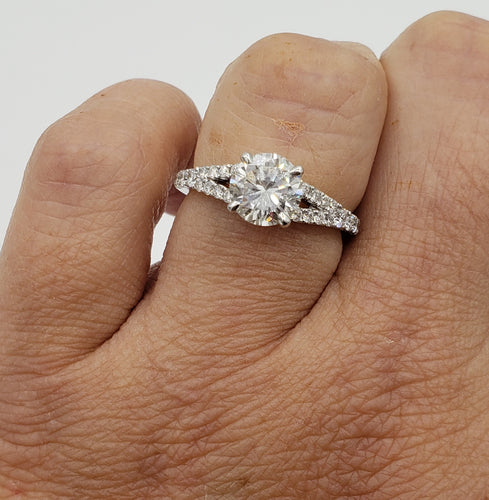 14K White Gold Round Brilliant Cut Diamond with Diamond Split Shank Engagement Ring