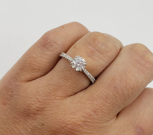 14K White Gold Round Brilliant Cut Diamond Engagement Ring with Diamonds on the band GIA Certified