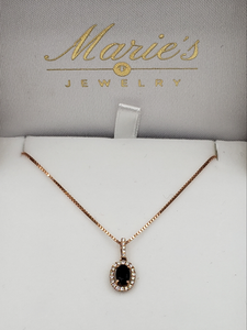 14K Rose Gold Sapphire & Diamond Necklace