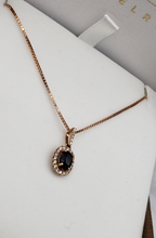 Load image into Gallery viewer, 14K Rose Gold Sapphire & Diamond Necklace