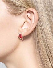Load image into Gallery viewer, Sterling Silver Cardinal Bird Stud Earrings - Red