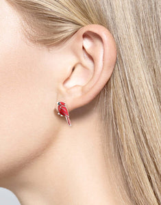 Sterling Silver Cardinal Bird Stud Earrings - Red