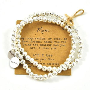 Mini Silver Lavastone Mom & Daughter Bliss Bracelet Set