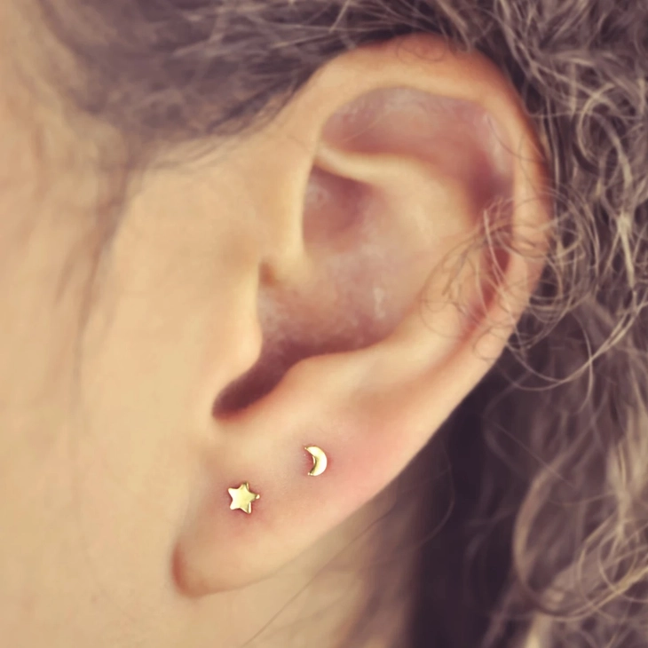 Tiny Moon and Star Studs