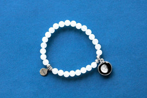 Moonstone Beaded Bracelet in White