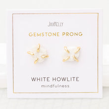 Load image into Gallery viewer, White Howlite Gemstone Prong Earrings