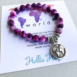 World - Magenta Rainbow Jade