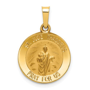 14k Polished and Satin St. Jude Thaddeus Medal Pendant