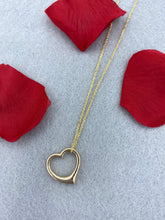 Load image into Gallery viewer, 14k Yellow Gold Open Heart Necklace