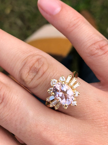 14K Yellow Gold Oval Morganite and Diamond Ring