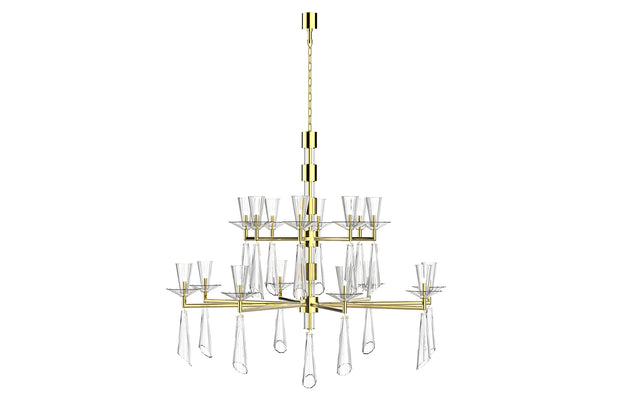 CLARA stainless polished steel and crystal chandelier