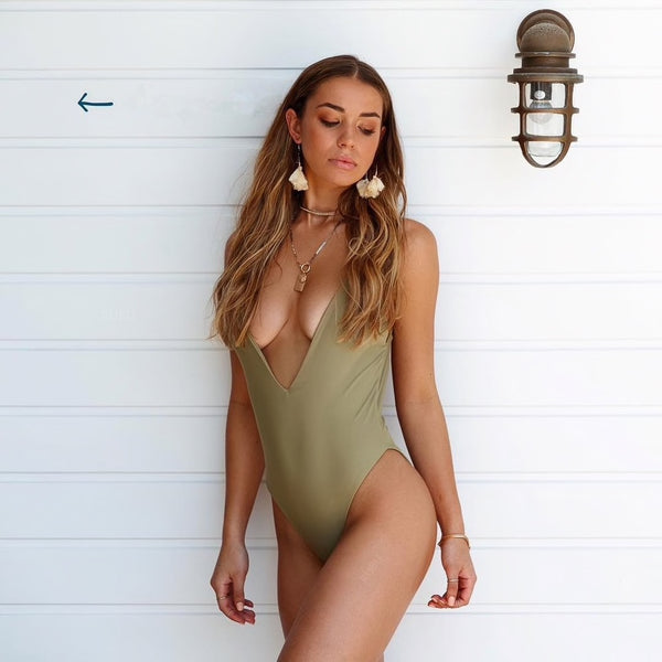 Solid Deep V Backless Swimwear