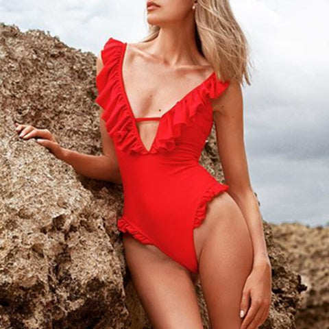 Red Ruffle V Neck Swimwear