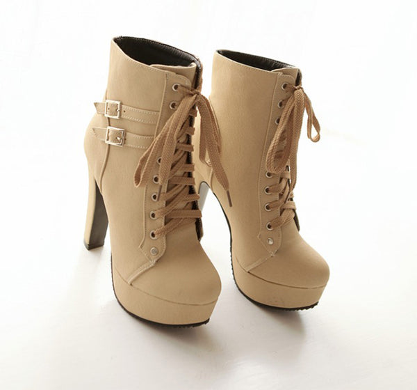 Handmade Lace-Up Boots for Women