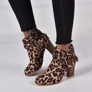 Leopard high heel ankle boot