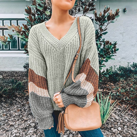 Patchwork Loose Lantern Sleeve Sweater
