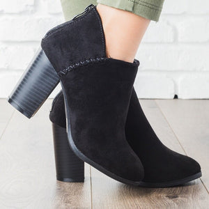 Thick Heel Slip On Boots