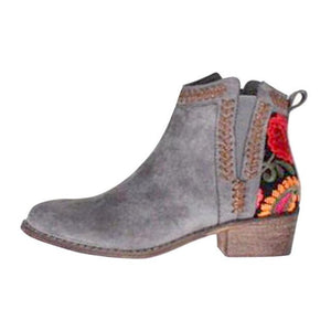 Flower Design Ankle Boots
