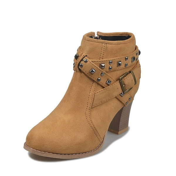 Wooden high heel ankle boot with buckle