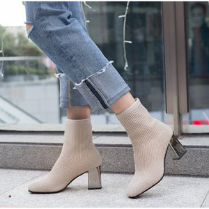 Stretch Knitting Ankle Boots